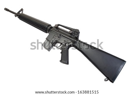 US Army service rifle M16 rifle isolated on a white background - stock photo