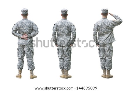 US Army soldier in three positions; Parade rest, Attention, Saluting. Back view, isolated on white background (Memorial day, Veteran's day, 4th of july, Independence day) - stock photo
