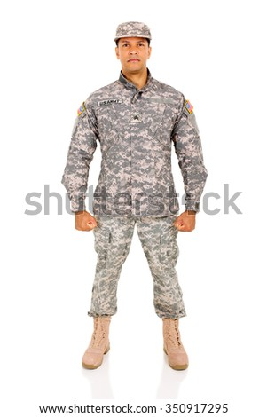 US army soldier on white background - stock photo