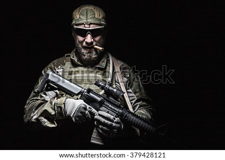US Army soldier smoking - stock photo