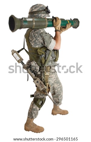 US ARMY soldier with AT rocket launcher isolated on white - stock photo