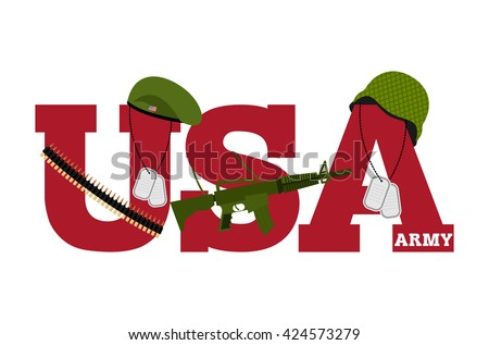 US Army. Symbol Of Americas Army. logo for U.S. armed forces. Soldiers accessories. Green Beret and helmet. Soldiers badge. Military rifle. Cartridge belt bandoleer. Patriotic us army logo - stock photo