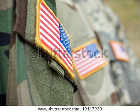 US army uniform badge flags - stock photo
