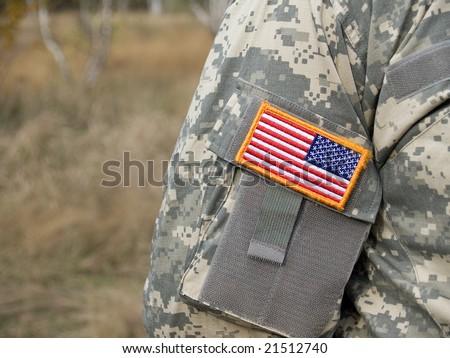 US army uniform patch flag - stock photo