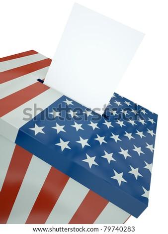 US ballot box. 3D render. - stock photo