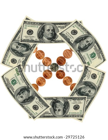 US banknotes and coins in motion. Financial wheel.