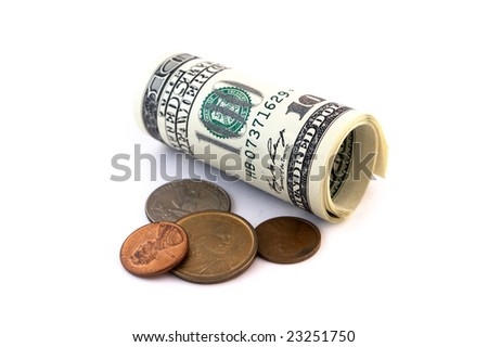 US banknotes and coins isolated against white background - stock photo