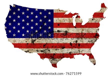 US border outline map isolated on white background - stock photo