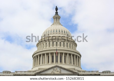US Capital Building dome in Washington DC United States - stock photo