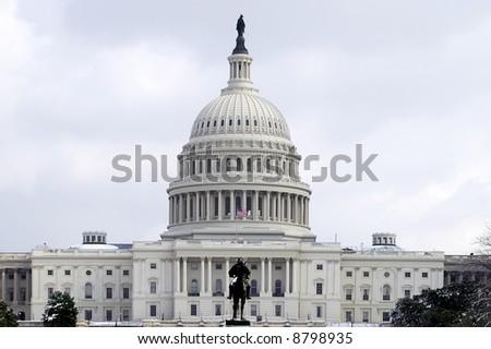 US Capital Building, Washington DC, in Winter Horizontal - stock photo