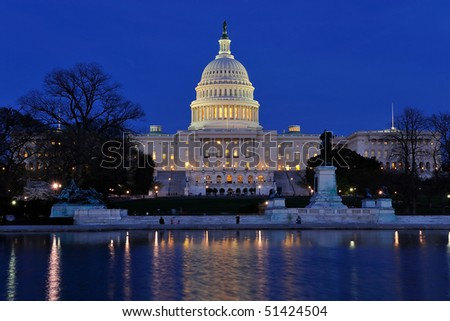 US Capitol and reflecting pool at dusk, Washington, DC