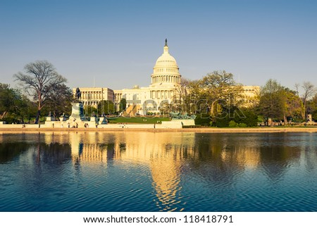 US Capitol at evening, Washington DC