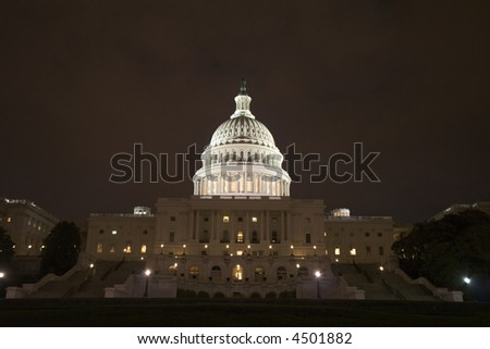 US Capitol at night - stock photo