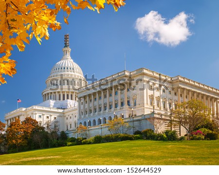 US Capitol at sunny autumn day, Washington DC - stock photo
