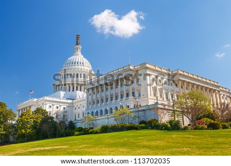 US Capitol at sunny day, Washington DC - stock photo