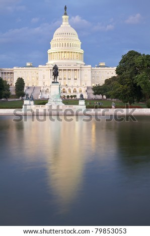 US Capitol Building at dusk, Washington DC - stock photo