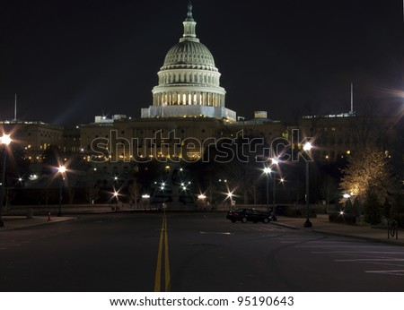 US Capitol building at night, Washington DC, United States of America