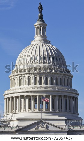 US Capitol Building, Dome Close up view, Washington DC - stock photo