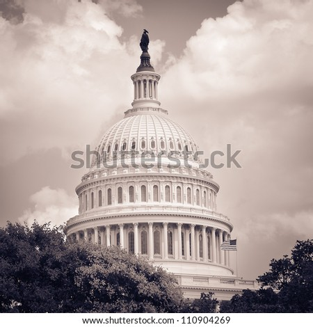US Capitol Building dome detail in sepia - Washington DC United States - stock photo