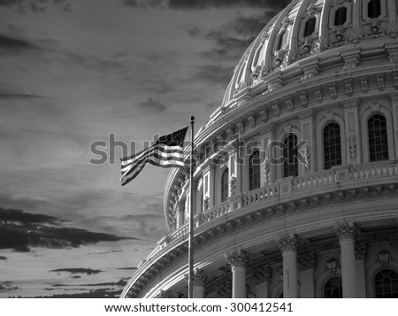 US Capitol Building Dome in Black and White. - stock photo