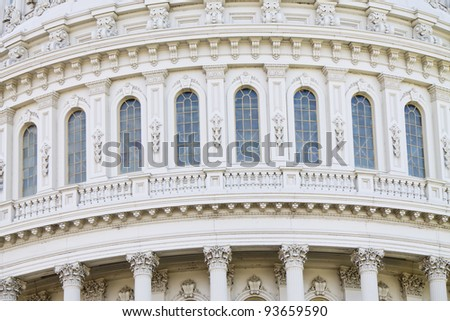 US Capitol Building Dome windows, Washington, DC, US Congress, - stock photo