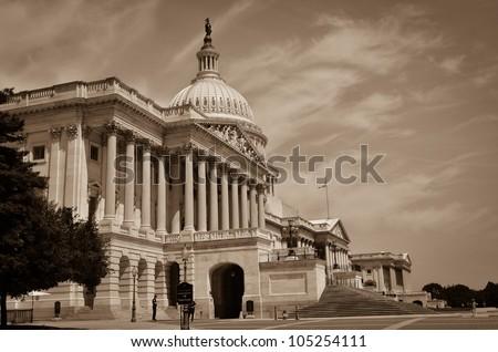 US Capitol Building in sepia - Washington DC - stock photo