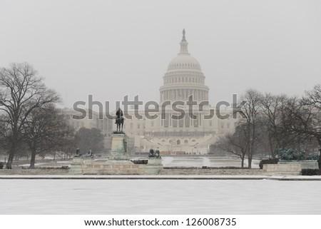 US Capitol Building in winter - Washington DC, United States - stock photo