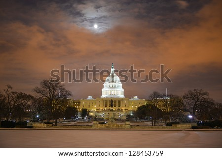US Capitol Building in winter - Washington DC, United States - stock photo