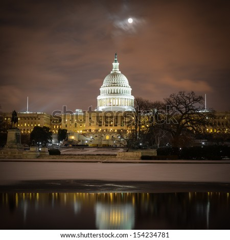 US Capitol Building in winter - Washington DC, United States