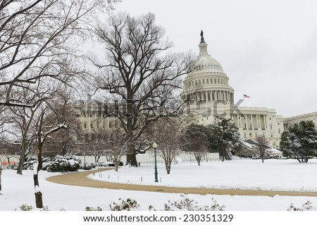 US Capitol Building in winter - Washington DC, United States of America  - stock photo