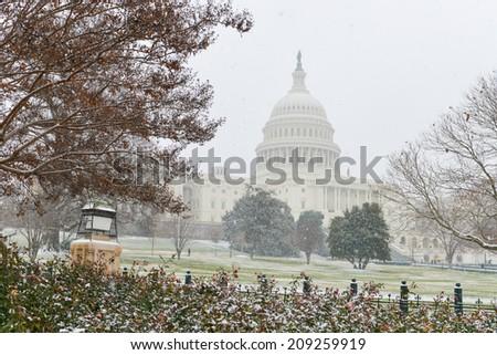 US Capitol Building snow - Washington DC, United States  - stock photo