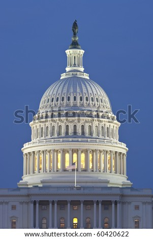 US Capitol Dome. Blue night sky behind. - stock photo