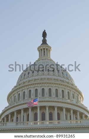 US Capitol dome, Close up view, Washington, DC - stock photo