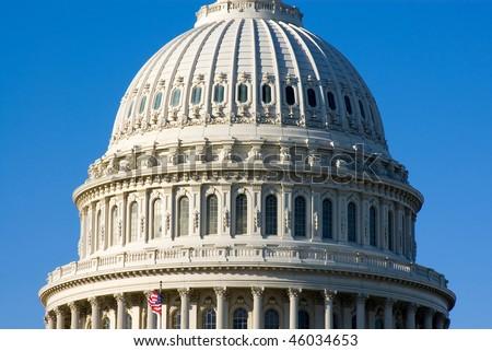 US Capitol dome closeup - stock photo