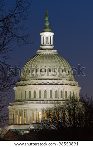 US Capitol dome detail in twilight - Washington DC United States - stock photo
