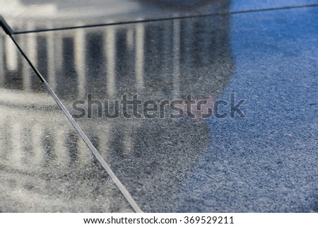 US Capitol Dome reflection on marble - Washington DC USA - stock photo