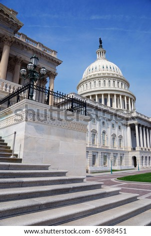US Capitol Hill Building closeup front shot, Washington DC. - stock photo