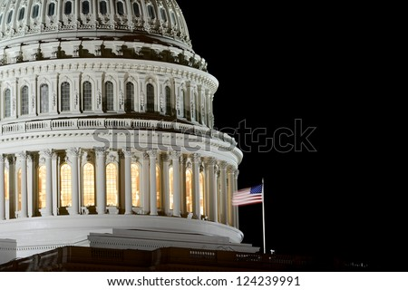 US Capitol Hill dome detail at night - Washington DC United States - stock photo