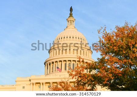 US Capitol in Autumn - Washington DC, USA - stock photo