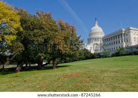 US Capitol in autumn, Washington DC USA
