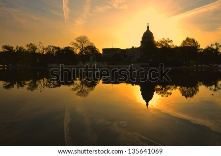 US Capitol in Sunrise, Washington DC, USA - stock photo