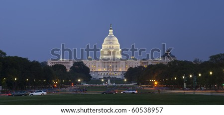 US Capitol panoramic at night as seen from the Mall. - stock photo