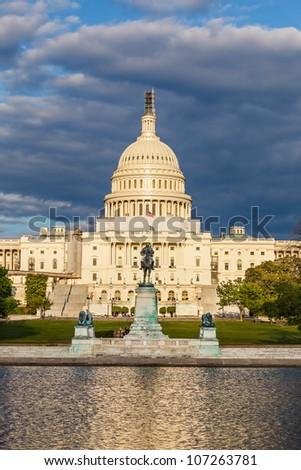 US Capitol under stormy sky - stock photo