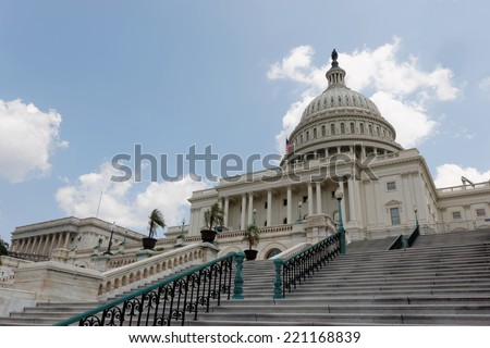 US Capitol, view from front, low angle, Washington DC, USA. - stock photo