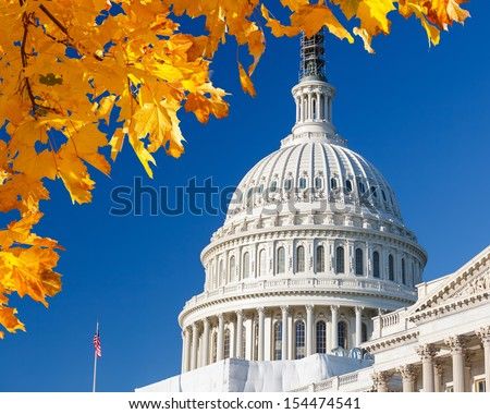 US Capitol with autumn leaves - stock photo
