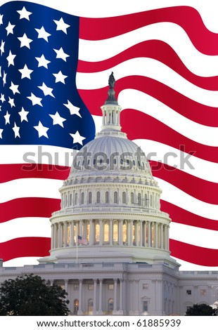 US Capitol with USA flag in background - stock photo