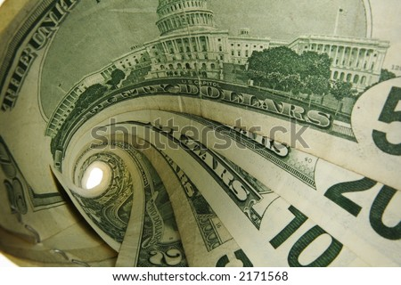 US Cash bills in a tornado shape; 1,2,5,10,20,50 dollar denominations; isolated white - stock photo
