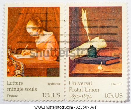 US - CIRCA 1974: A double stamps printed in US shows Francisco de Goya, Don Antonia Noriega, ceries FAMOUS WORKS OF ART, the 100th anniversary of the Universal Postal Union, circa 1974. - stock photo