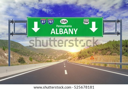 US city Albany road sign on highway