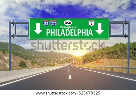 US city Philadelphia road sign on highway